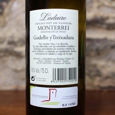 Ladairo Godello y Treixadura Monterrei detalle etiqueta